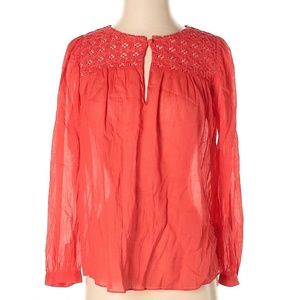 J.CREW Gauze Embroidered Peasant Relaxed Blouse
